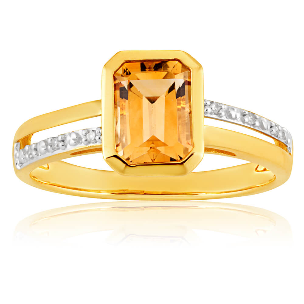 9ct Yellow Gold Citrine + 6 Diamond Ring