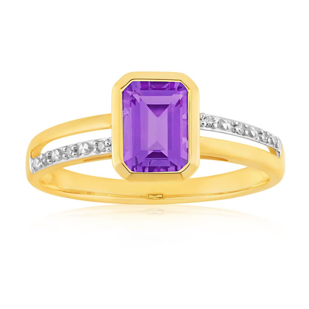 9ct Yellow Gold Amethyst + 6 Diamond Ring