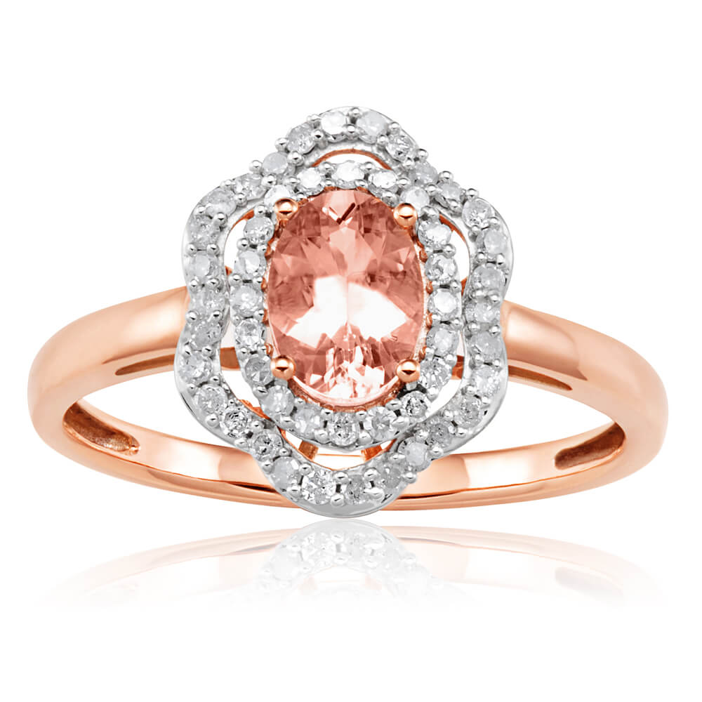 9ct Rose Gold Morganite 7x5mm 0.65 Carats and Diamonds 0.25 Carats Floral Halo Ring