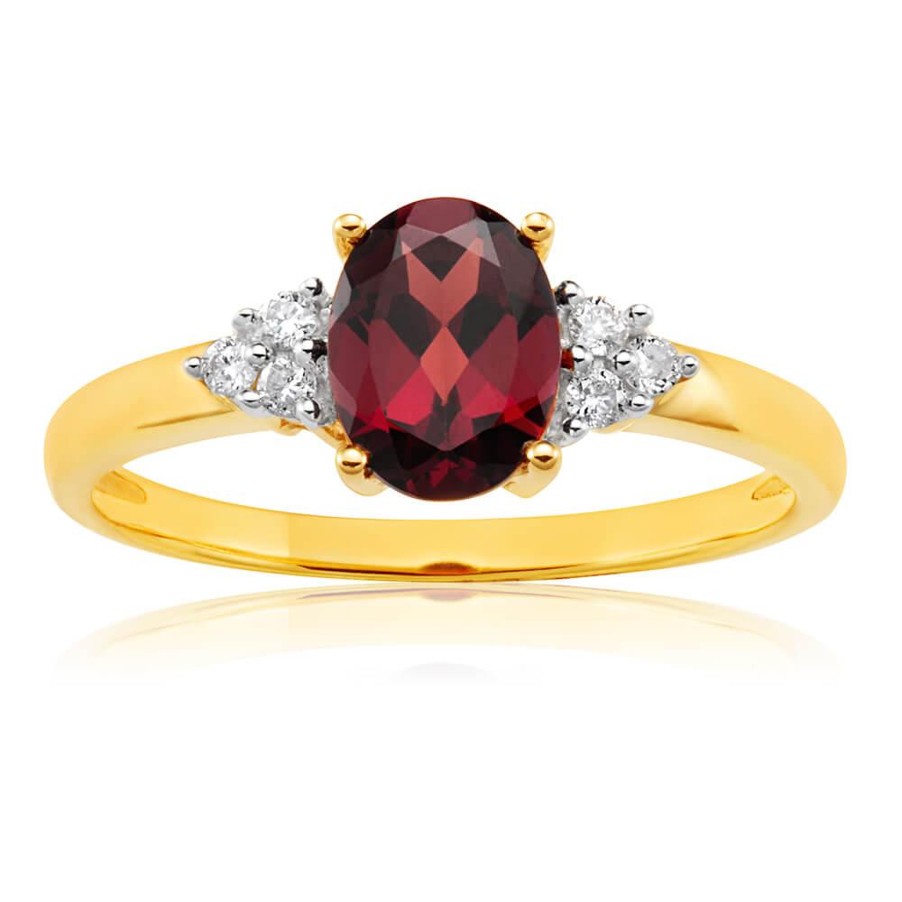 9ct Elegant Yellow Gold Diamond + Garnet Ring
