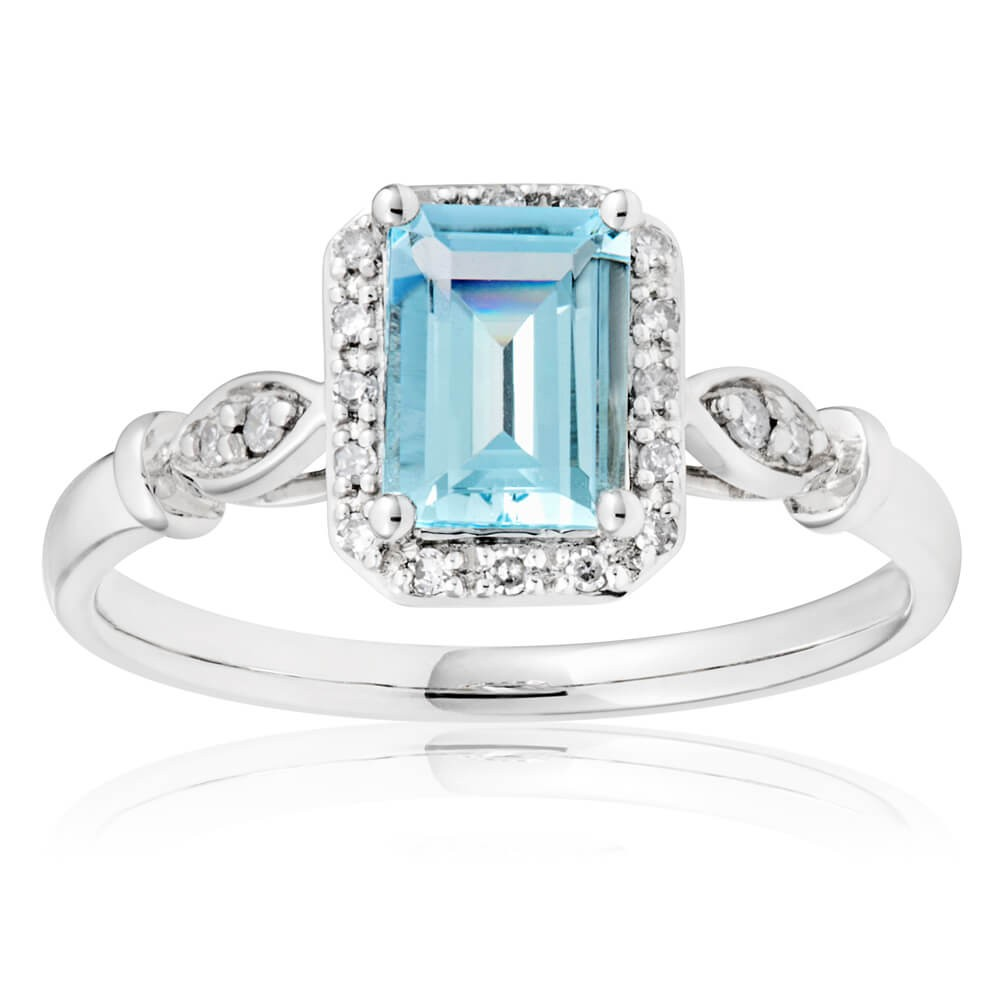 9ct White Gold Aquamarine 7x5mm Emerald Cut + Diamond Ring