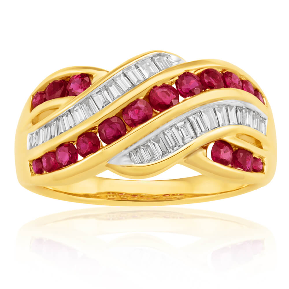 9ct Yellow Gold Natural Ruby and 0.23ct Diamond Wave Ring