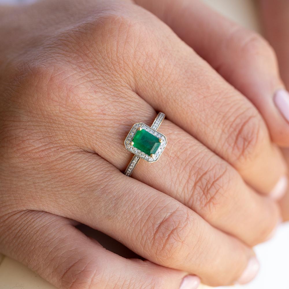 9ct Yellow Gold 1.00 Carat Natural Emerald and 0.15ct Diamond Ring