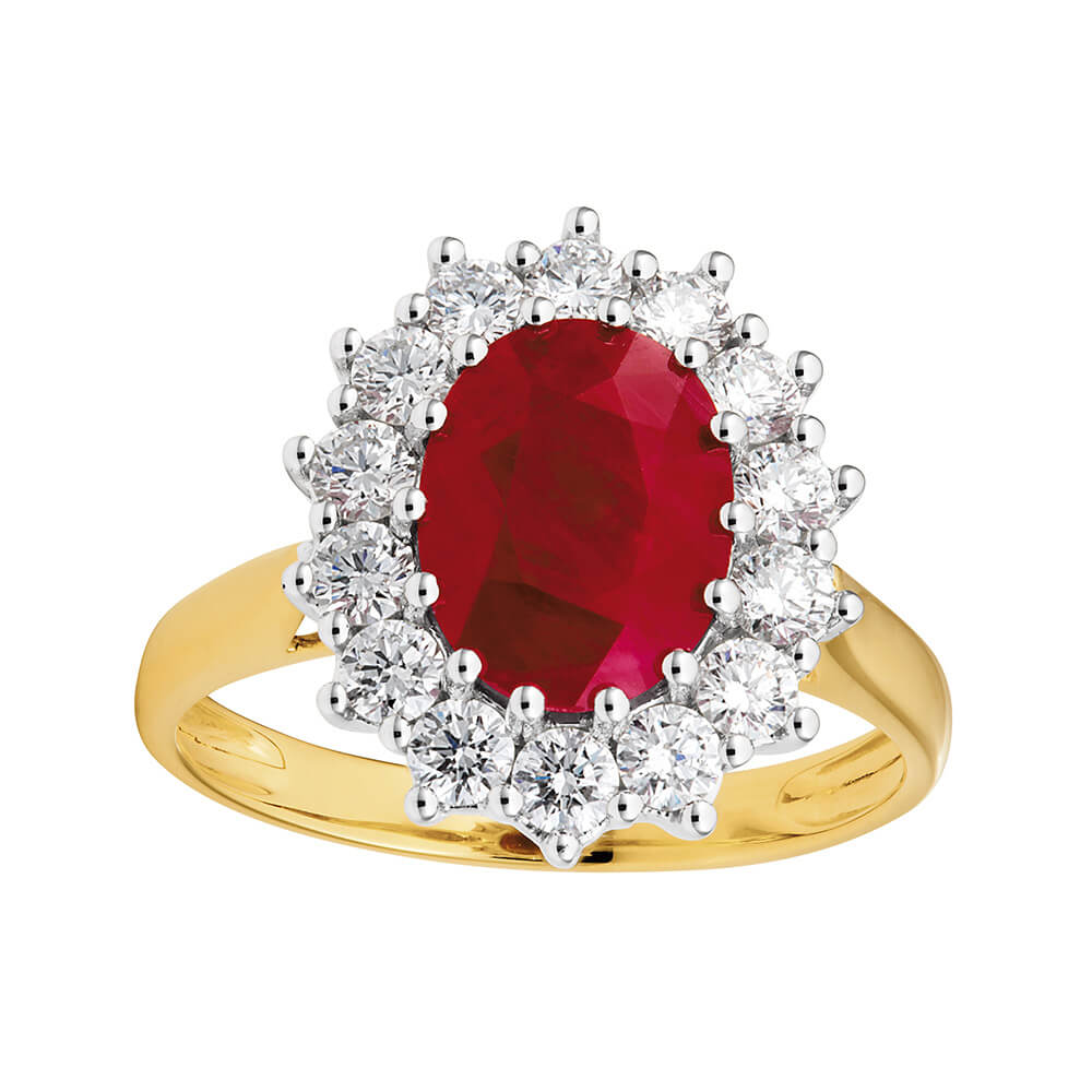 18ct Yellow Gold Diamond + Ruby Ring