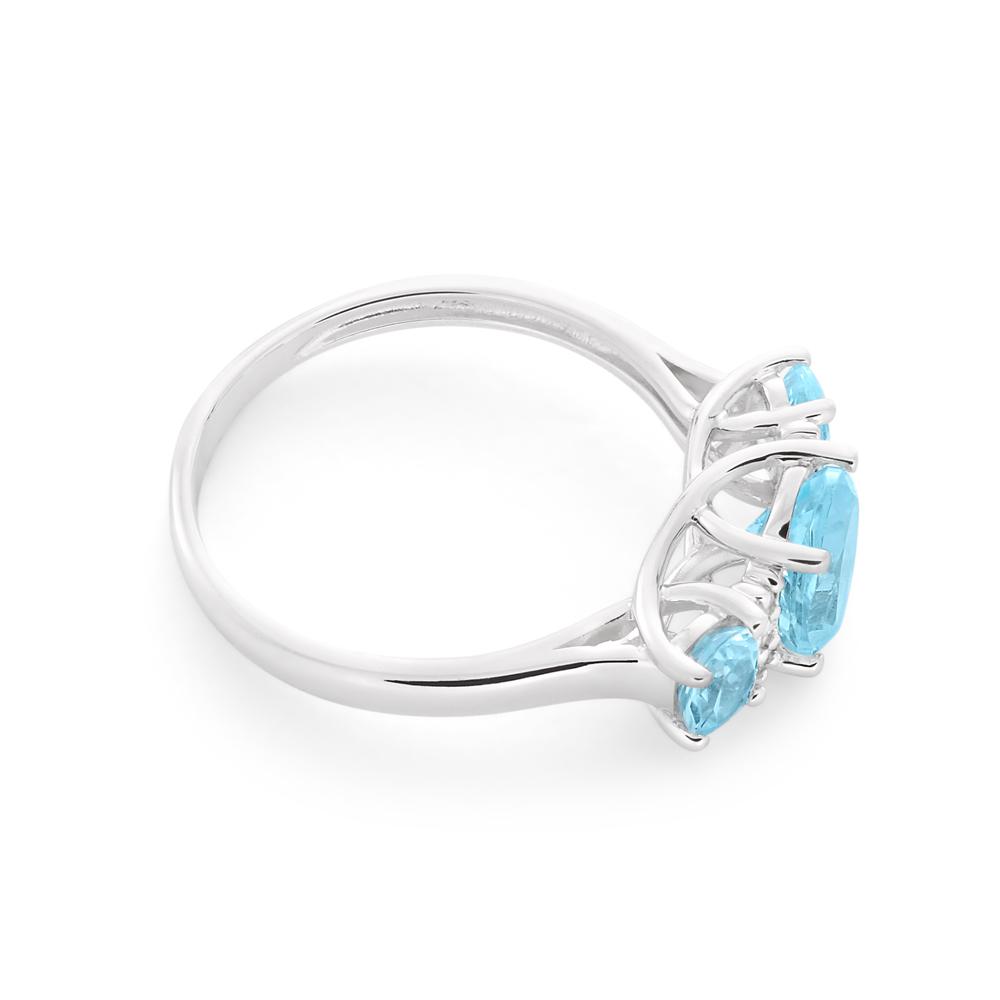 9ct White Gold Sky Blue Topaz & Diamond Trilogy Ring