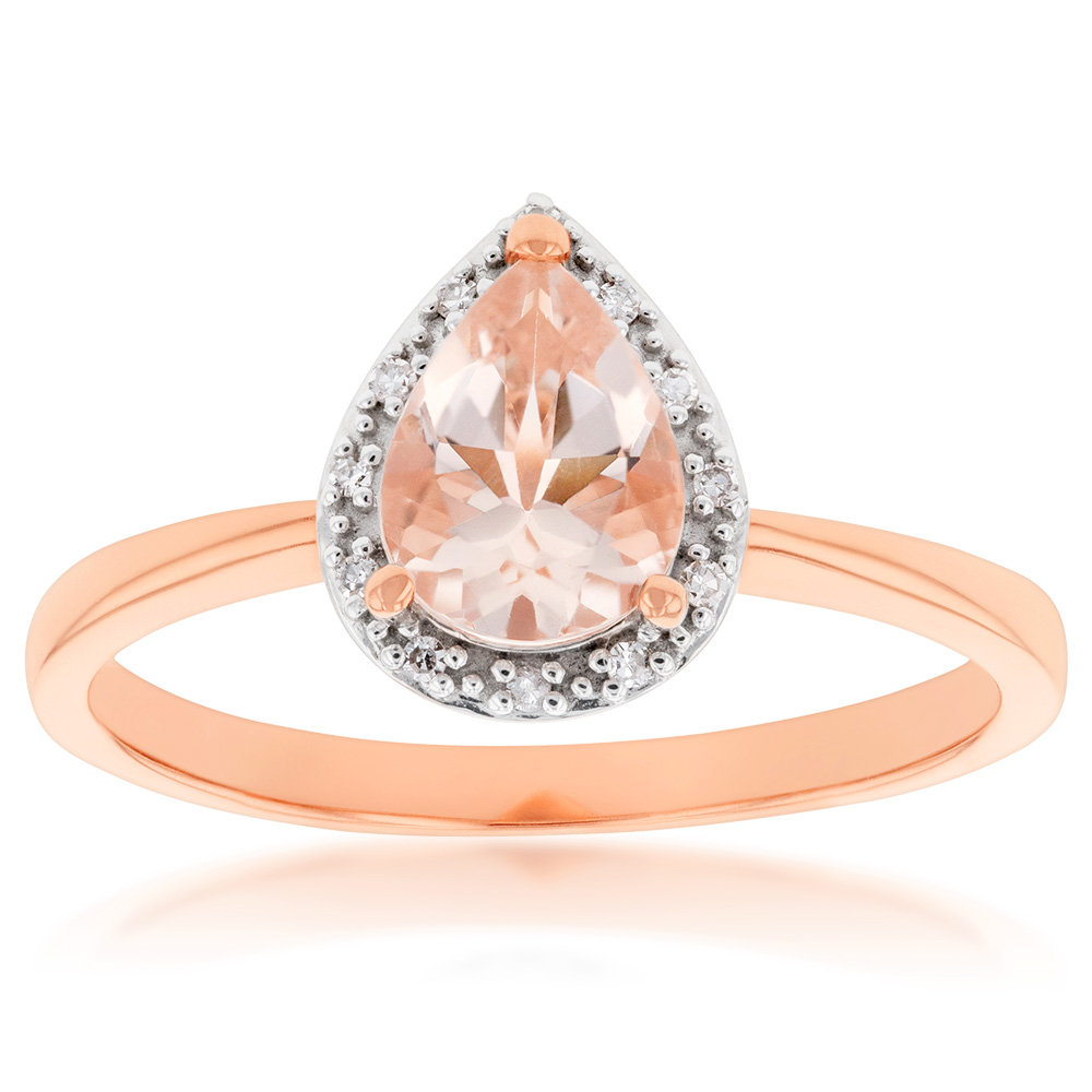 9ct Rose Gold Morganite 8x6mm Pear & Diamond Ring