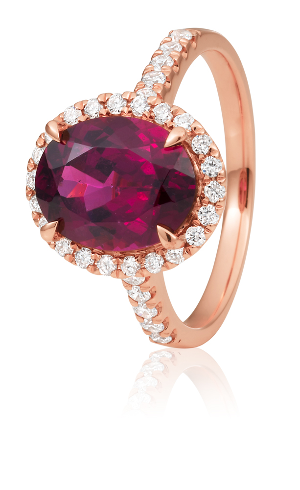 9ct Rose Gold Rhodolite Garnet Ring 10x8mm Oval with 0.34ct Diamonds