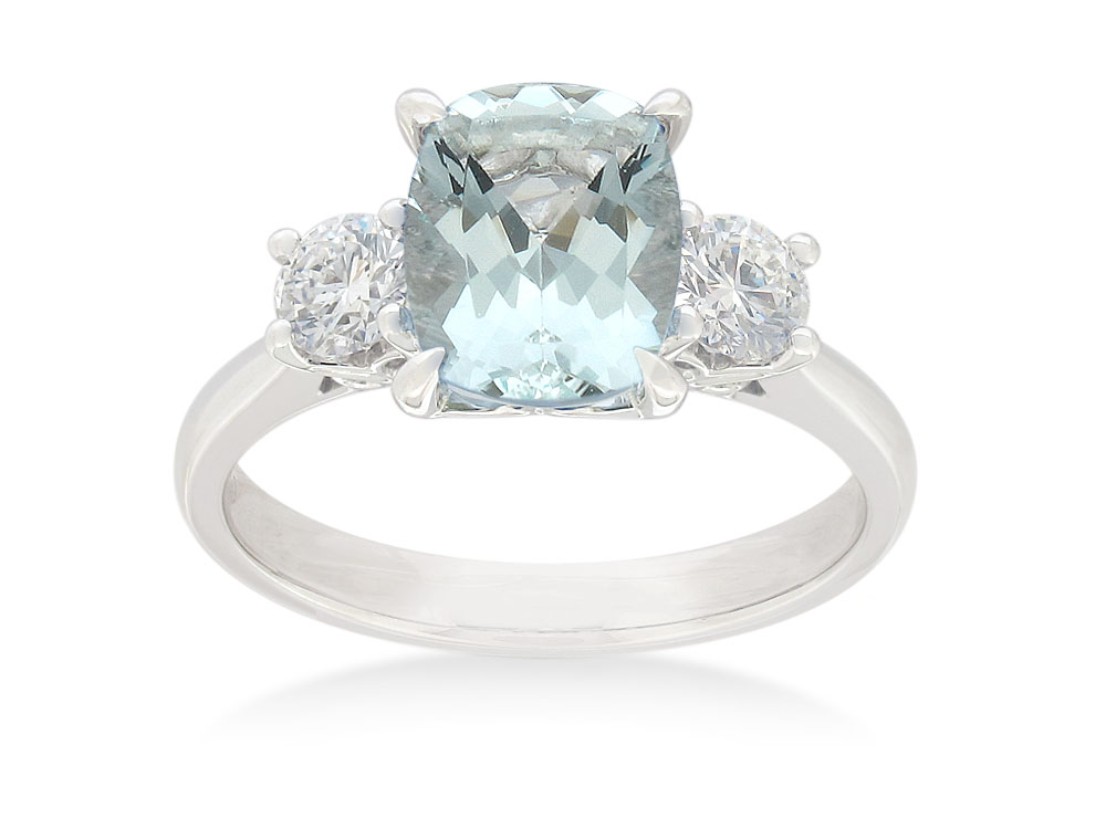 18ct White Gold Aquamarine 1.80ct Cushion Cut Ring with 0.50ct Diamonds
