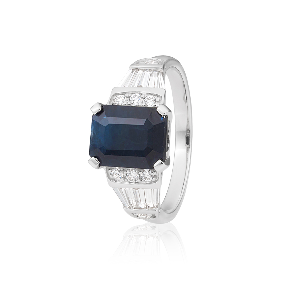 18ct White Gold Natural Black Sapphire 3.0ct Emerald Cut Ring with 0.50ct Diamonds