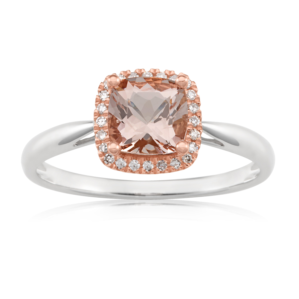 9ct White Gold Ring with Morganite 6mm x 6mm and Diamonds