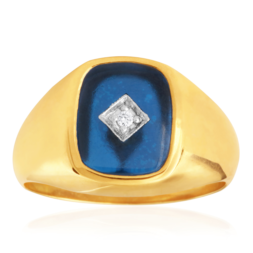 9ct Yellow Gold Created Blue Spinel & Diamond Gents Ring