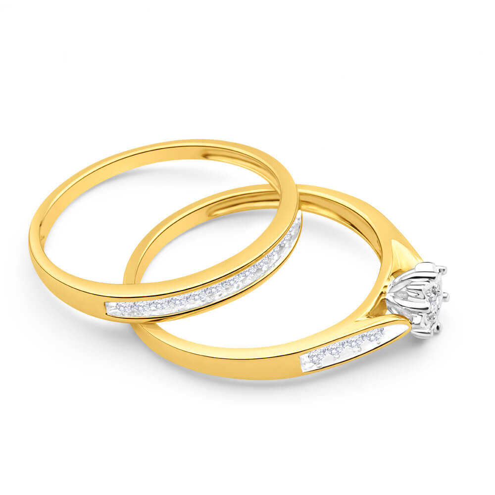9ct Yellow Gold 2 Ring Bridal Set With 0.25 Carats Of Channel Set Diamonds