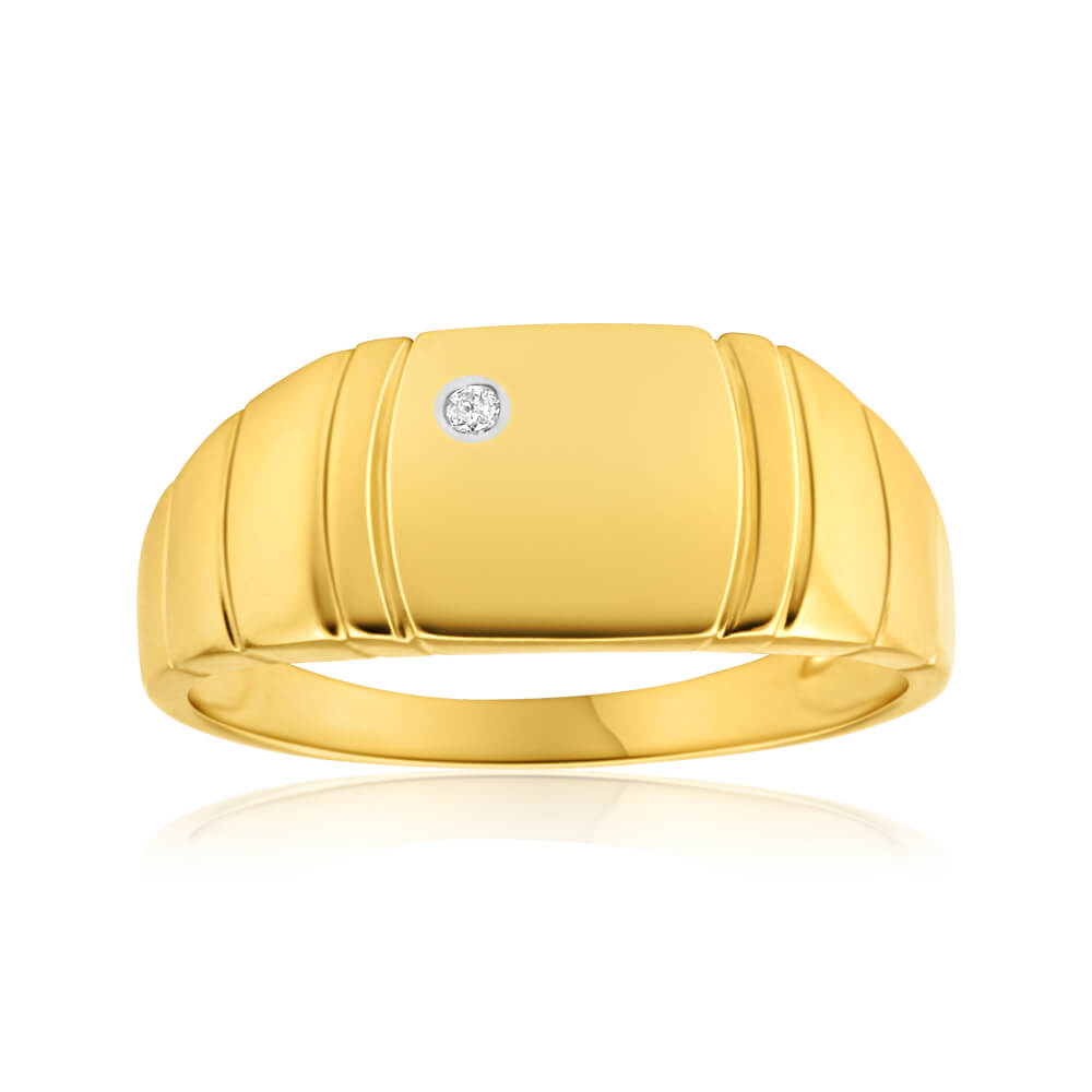 9ct Yellow Gold Grooved Diamond Ring