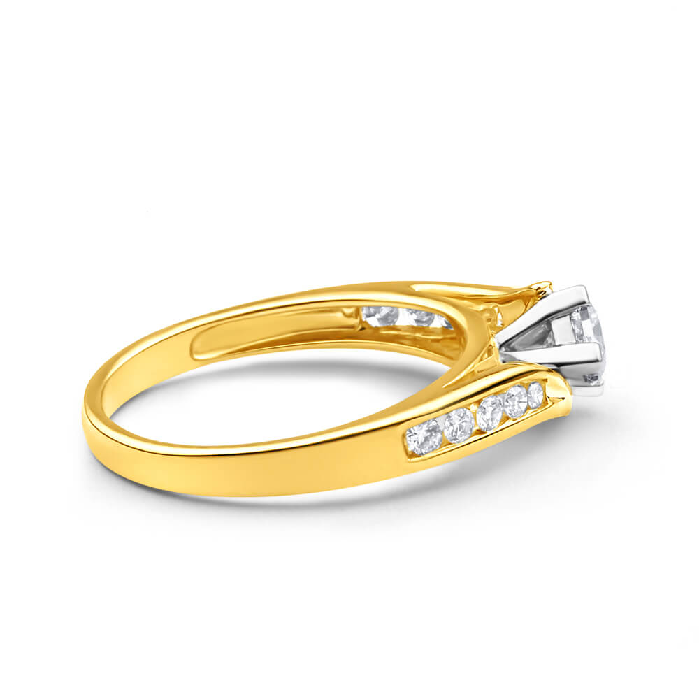 9ct Yellow Gold & White Gold Ring With 1/2 Carat Of Diamonds