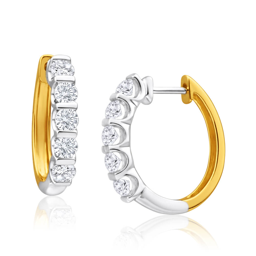 9ct Yellow Gold  Gold Diamond Hoop Earrings