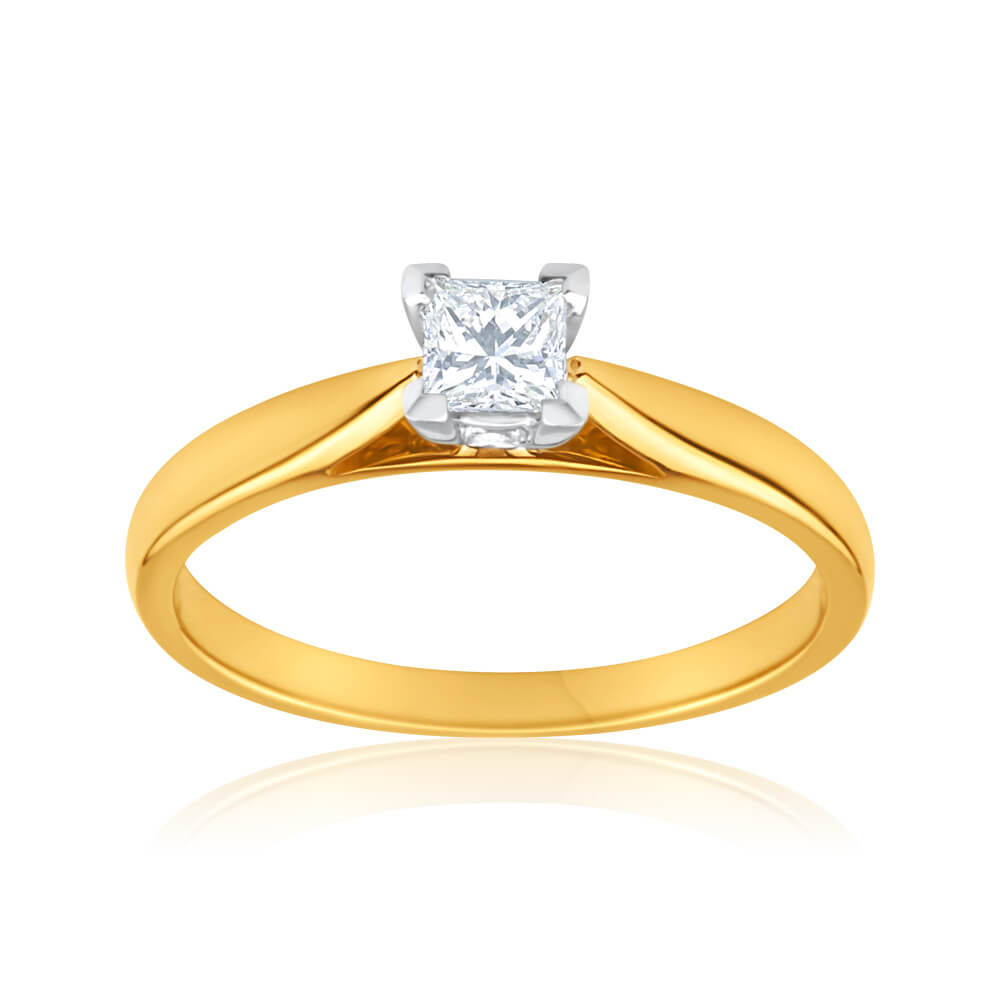 18ct Yellow Gold Solitaire Ring With 0.2 Carat Diamond