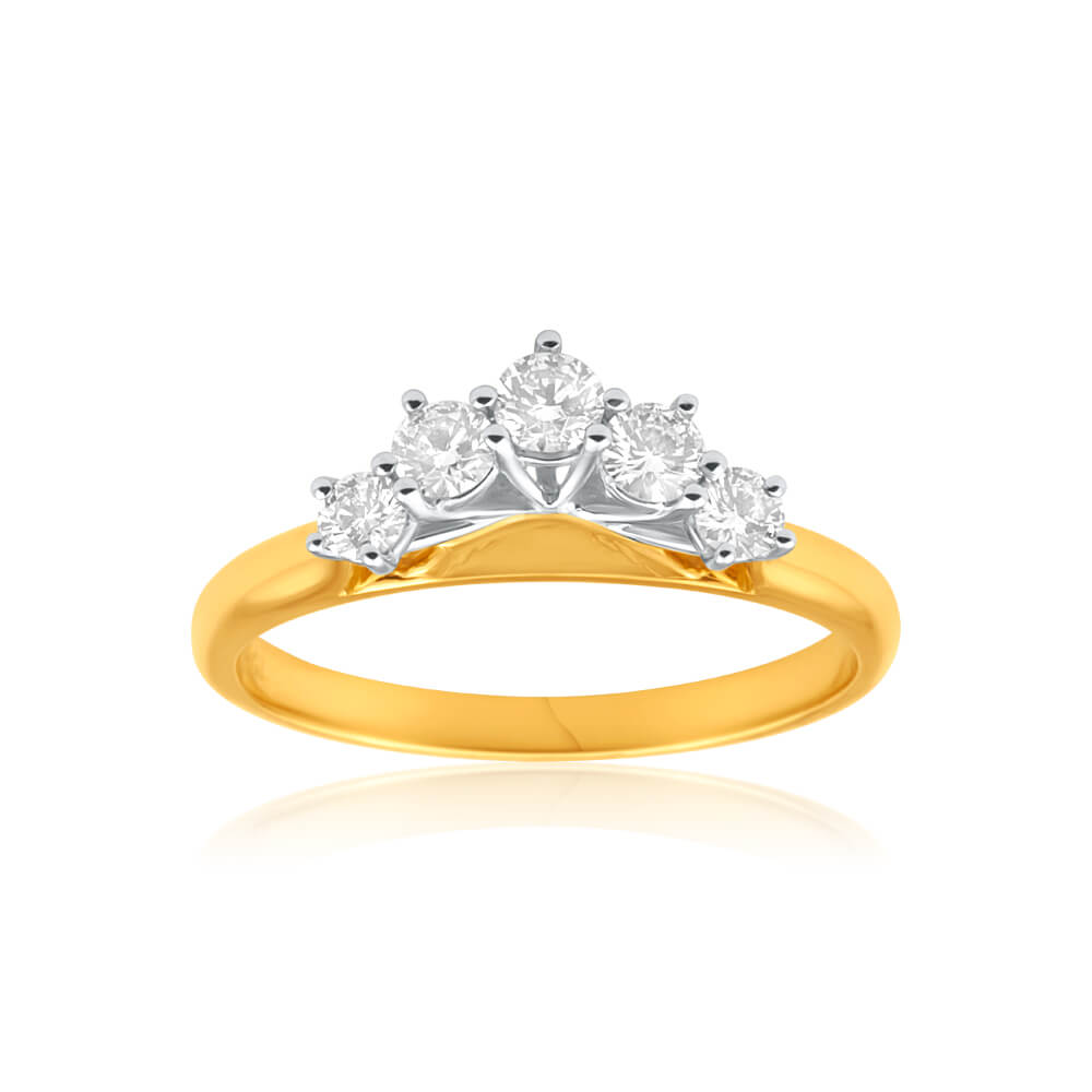 18ct Yellow Gold & White Gold Ring With 0.5 Carats Of Brilliant Cut Diamonds