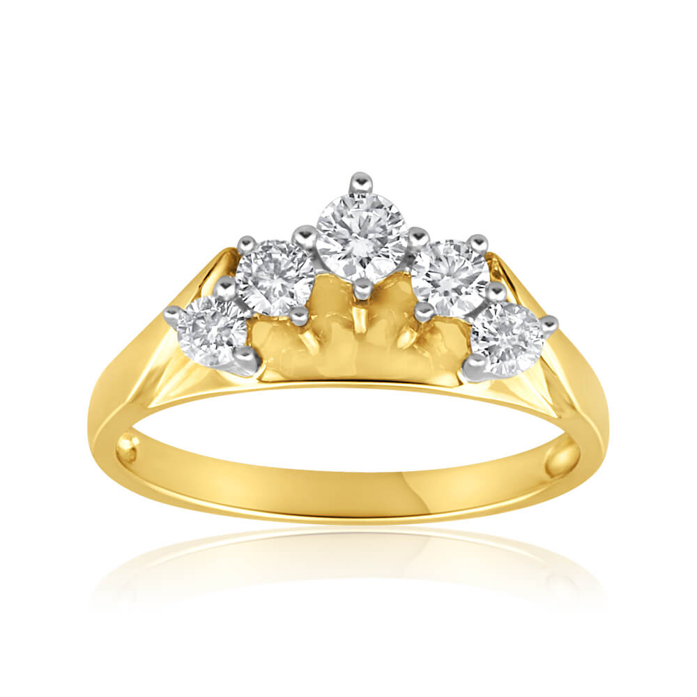 18ct Yellow Gold Ring With 1/2 Carat Of Diamonds