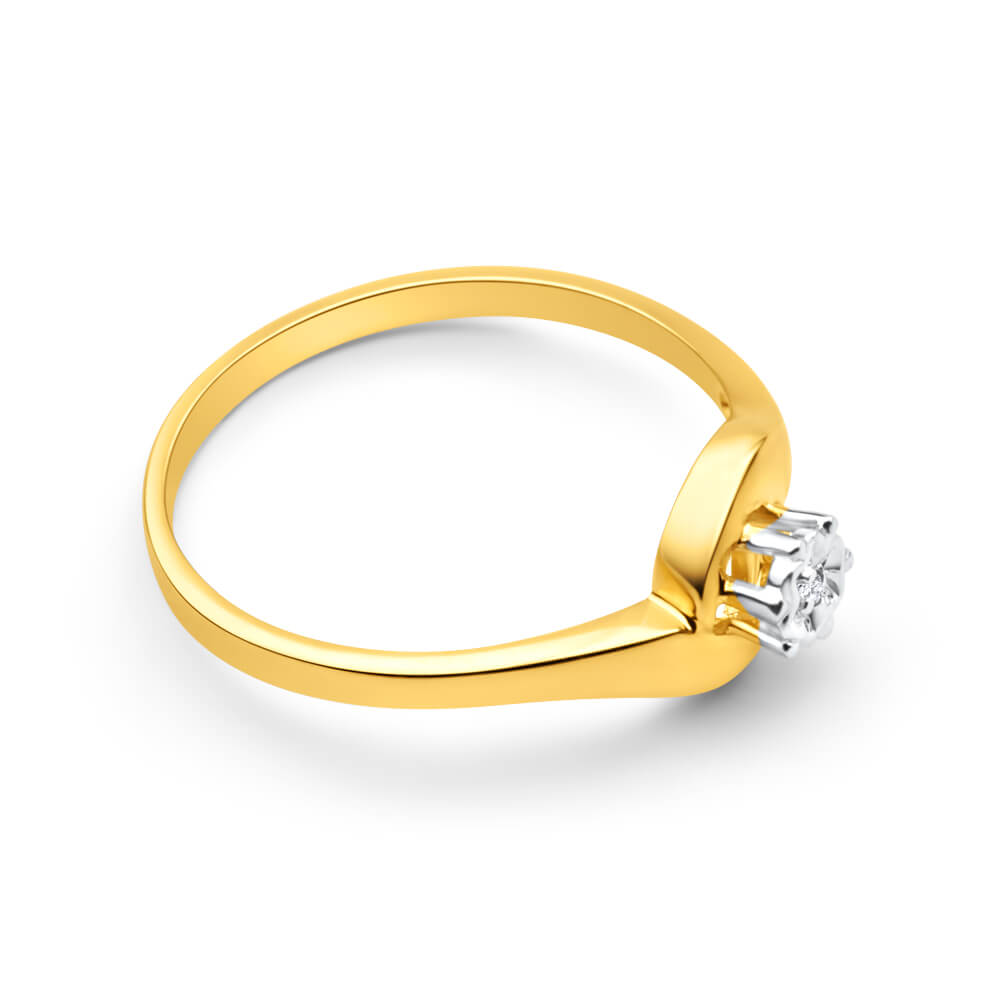 9ct Yellow Gold Solitaire Ring With Illusion Set Diamond