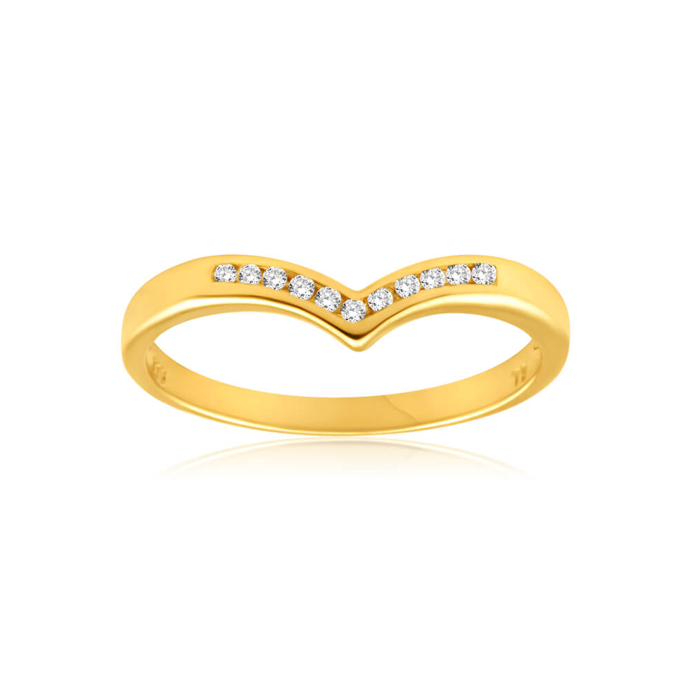 9ct Yellow Gold Diamond Ring Set with 11 Brilliant Diamonds