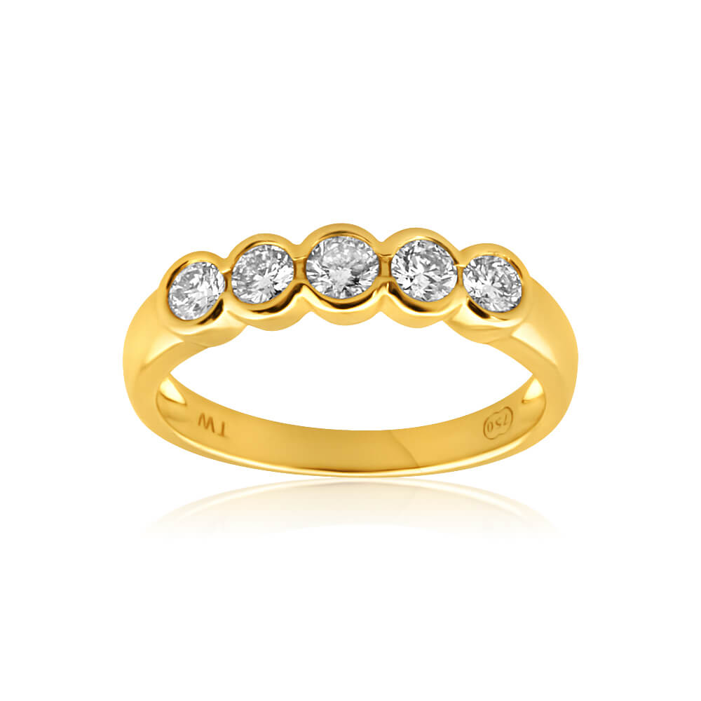 18ct Yellow Gold Ring With 0.5 Carats Of Bezel Set Diamonds