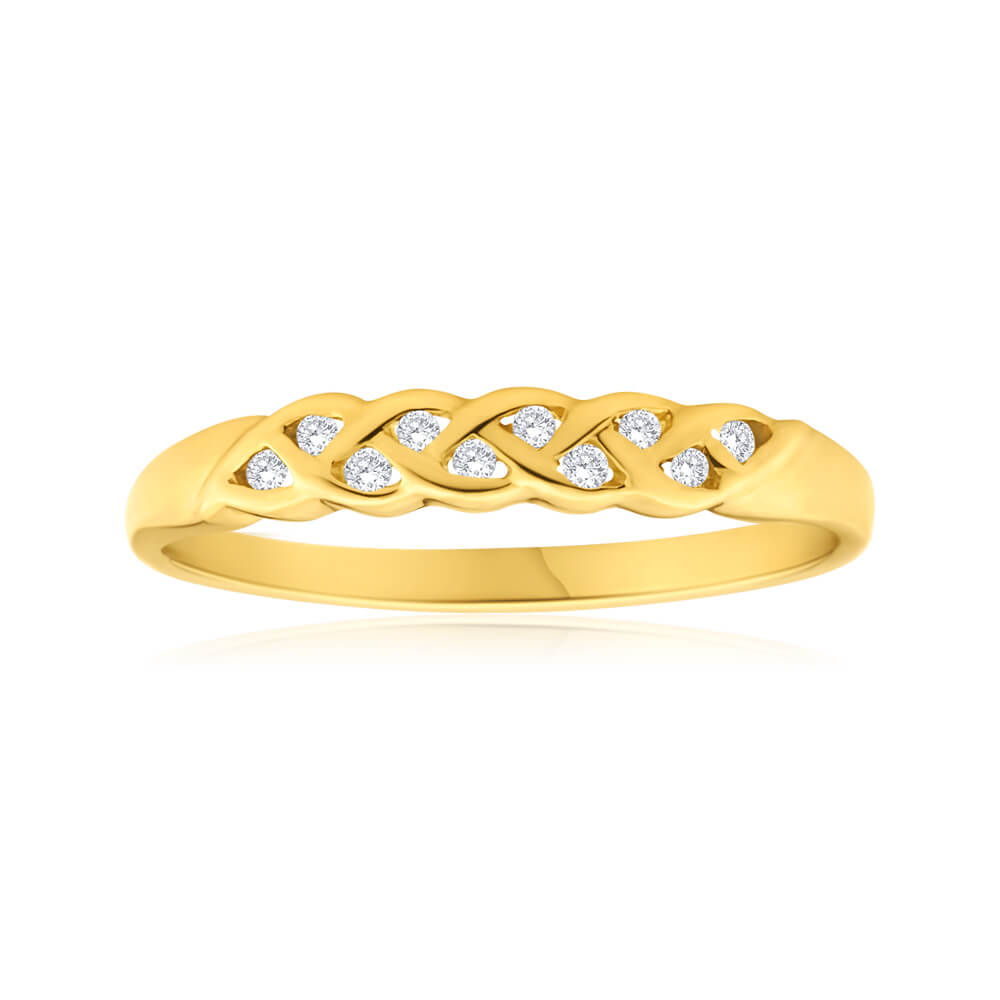 9ct Yellow Gold Plait Diamond Ring