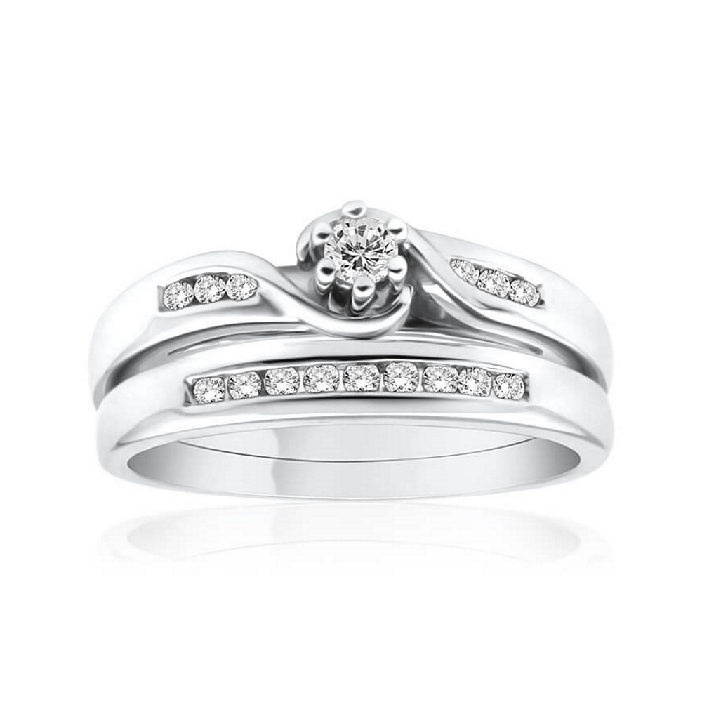 9ct White Gold 2 Ring Bridal Set With 0.2 Carats Of Diamonds