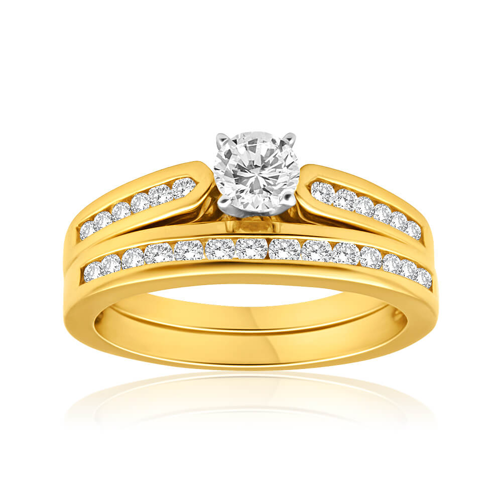 Flawless Cut 18ct Yellow Gold 2 Ring Bridal Set With 1 Carat Diamonds