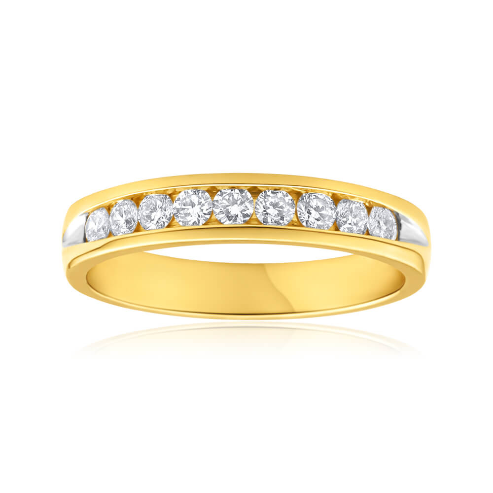 Flawless Cut 18ct Yellow Gold Diamond Ring With 9 Diamonds (TW=1/2 Carat)