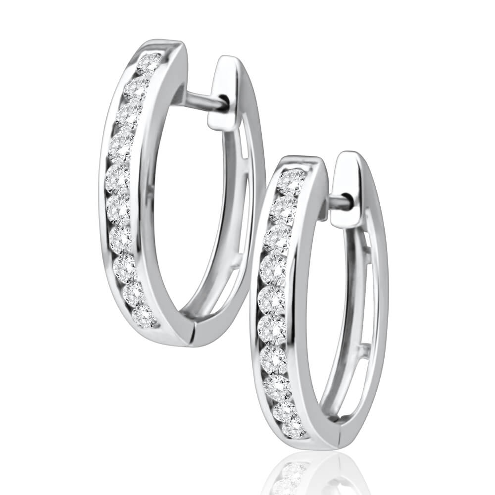 9ct White Gold Radiant Diamond Hoop Earrings