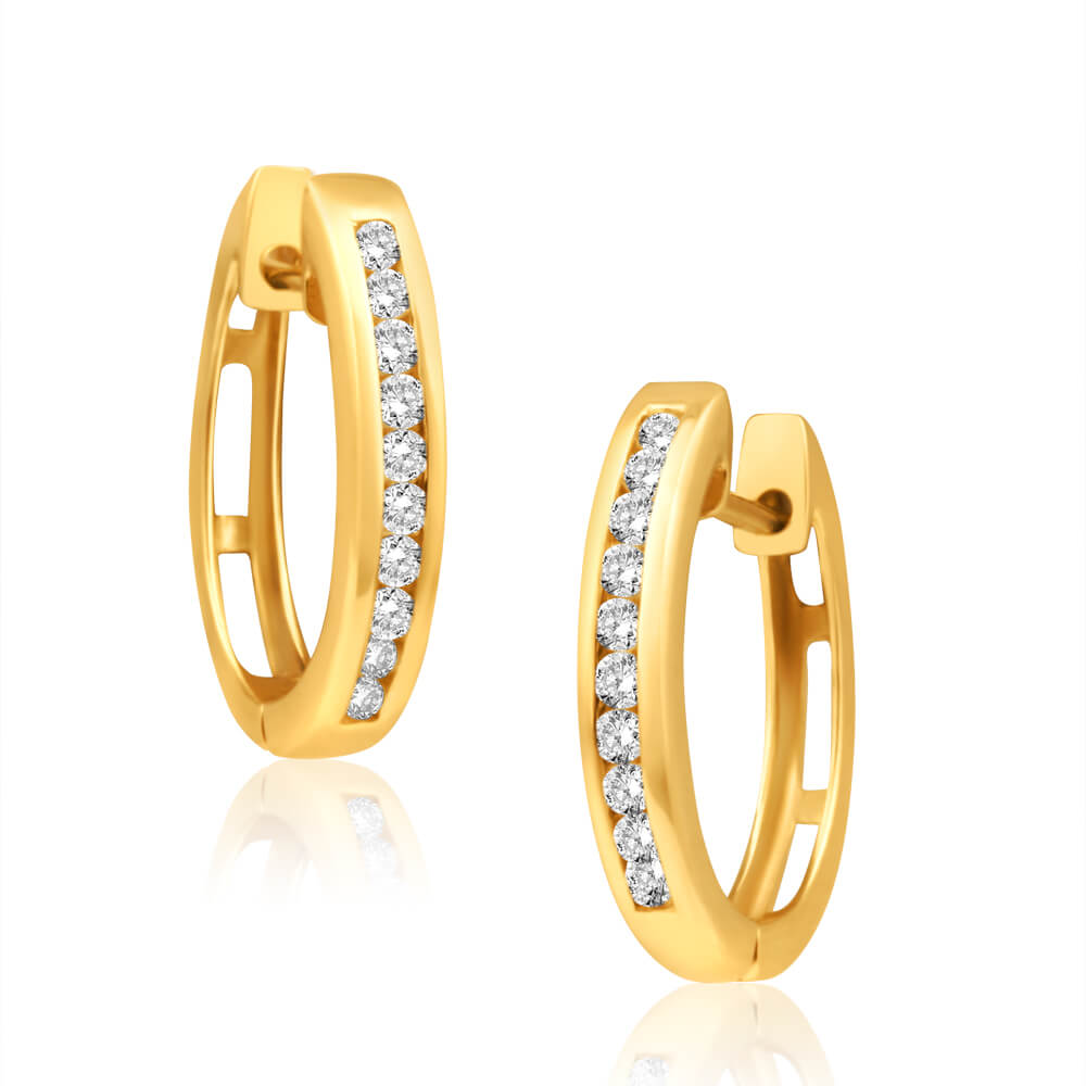 9ct Yellow Gold Luxurious Diamond Hoop Earrings