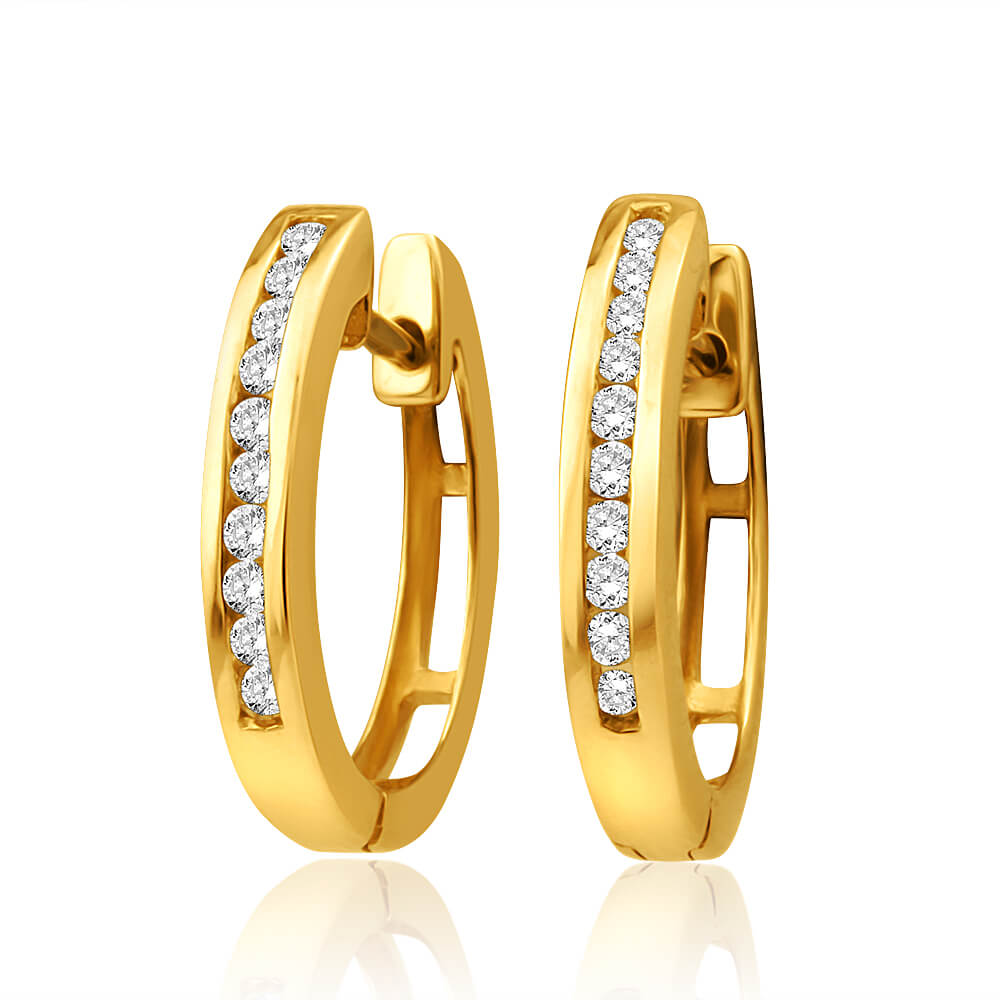 9ct Yellow Gold Diamond Hoop Earrings