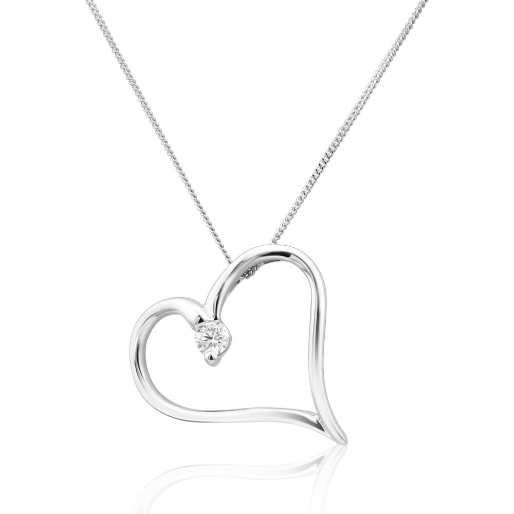 Flawless Cut 9ct White Gold Diamond Pendant With 45cm Chain