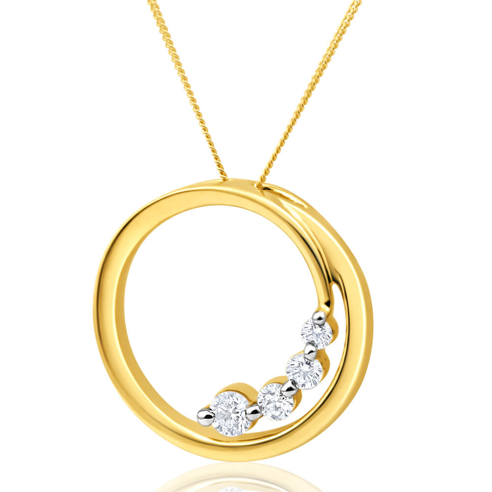 Flawless Cut 9ct Yellow Gold Diamond Open Circle Pendant With Chain (TW=1/4 Carat)