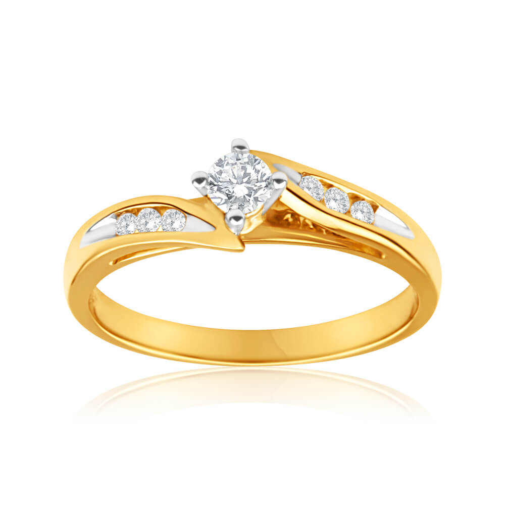 18ct Yellow Gold 'Montana' Ring With 0.25 Carats Of Diamonds