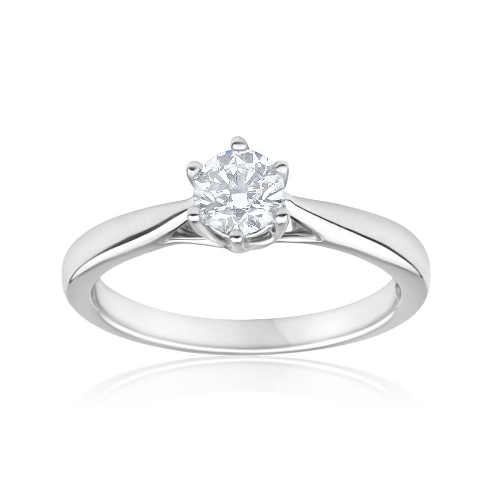 Flawless Cut 18ct White Gold Solitaire Ring With 0.4 Carats Diamond