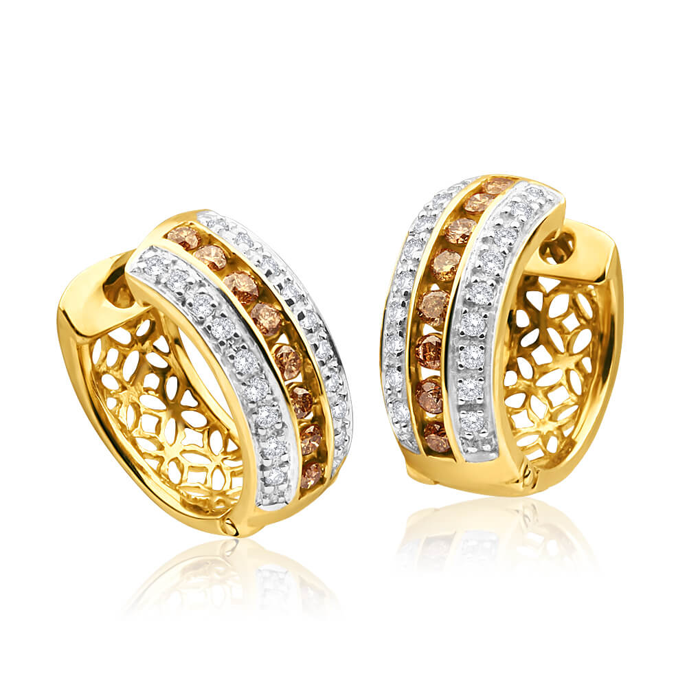 Australian Diamond 9ct Yellow Gold Diamond Hoop Earrings