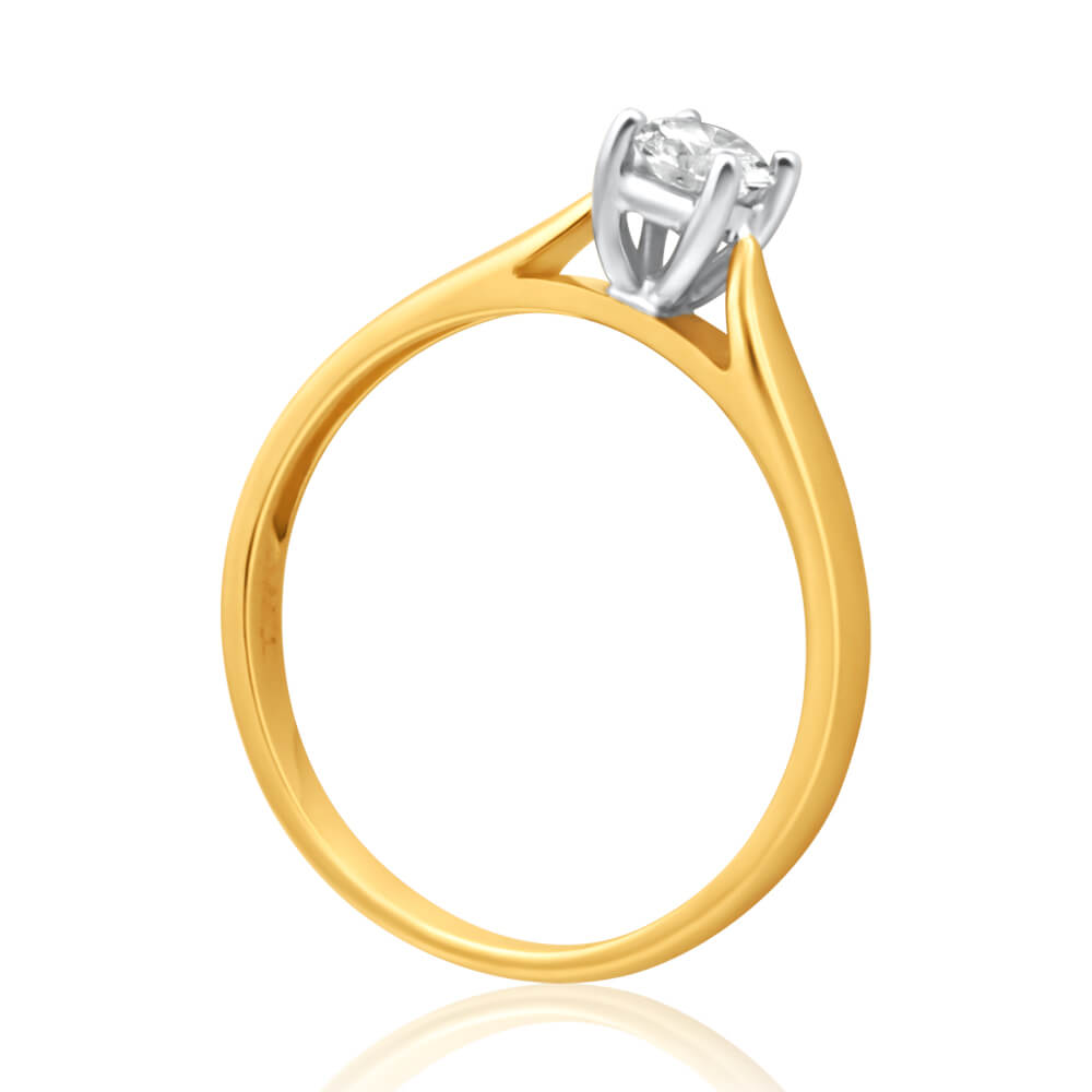 9ct Yellow Gold Solitaire Ring With 0.3 Carat 4 Claw Set Diamond