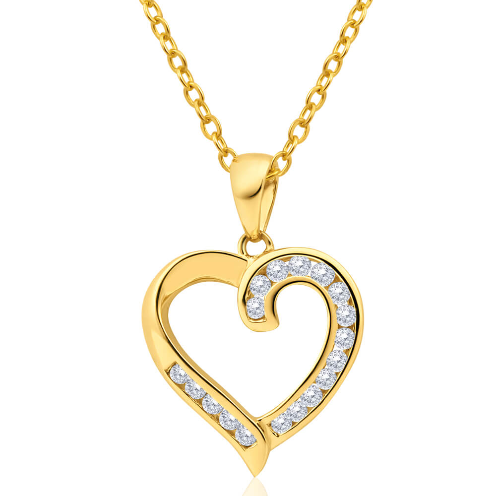 Australian Diamond 9ct Yellow Gold Diamond Heart Pendant