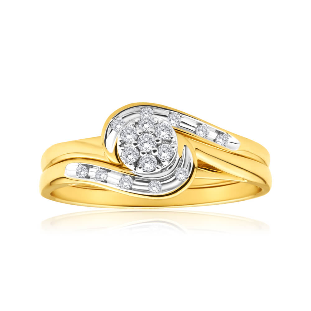 9ct Yellow Gold 2 Ring Bridal Set With 0.15 Carats Of Light Champagne Diamonds