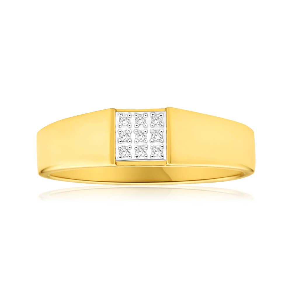 9ct Yellow Gold Diamond Ring with 9 Brilliant Cut Diamonds