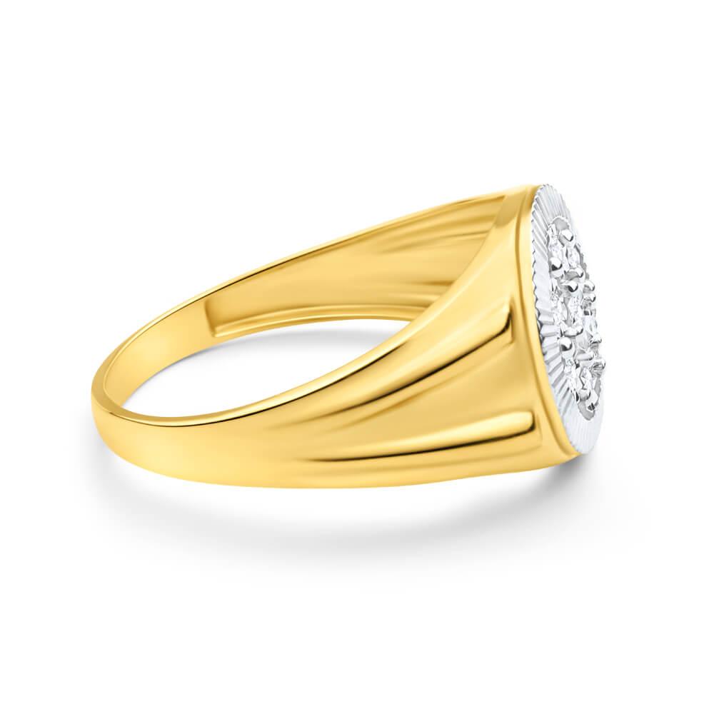 9ct Yellow Gold And Rhodium Gents Diamond Ring