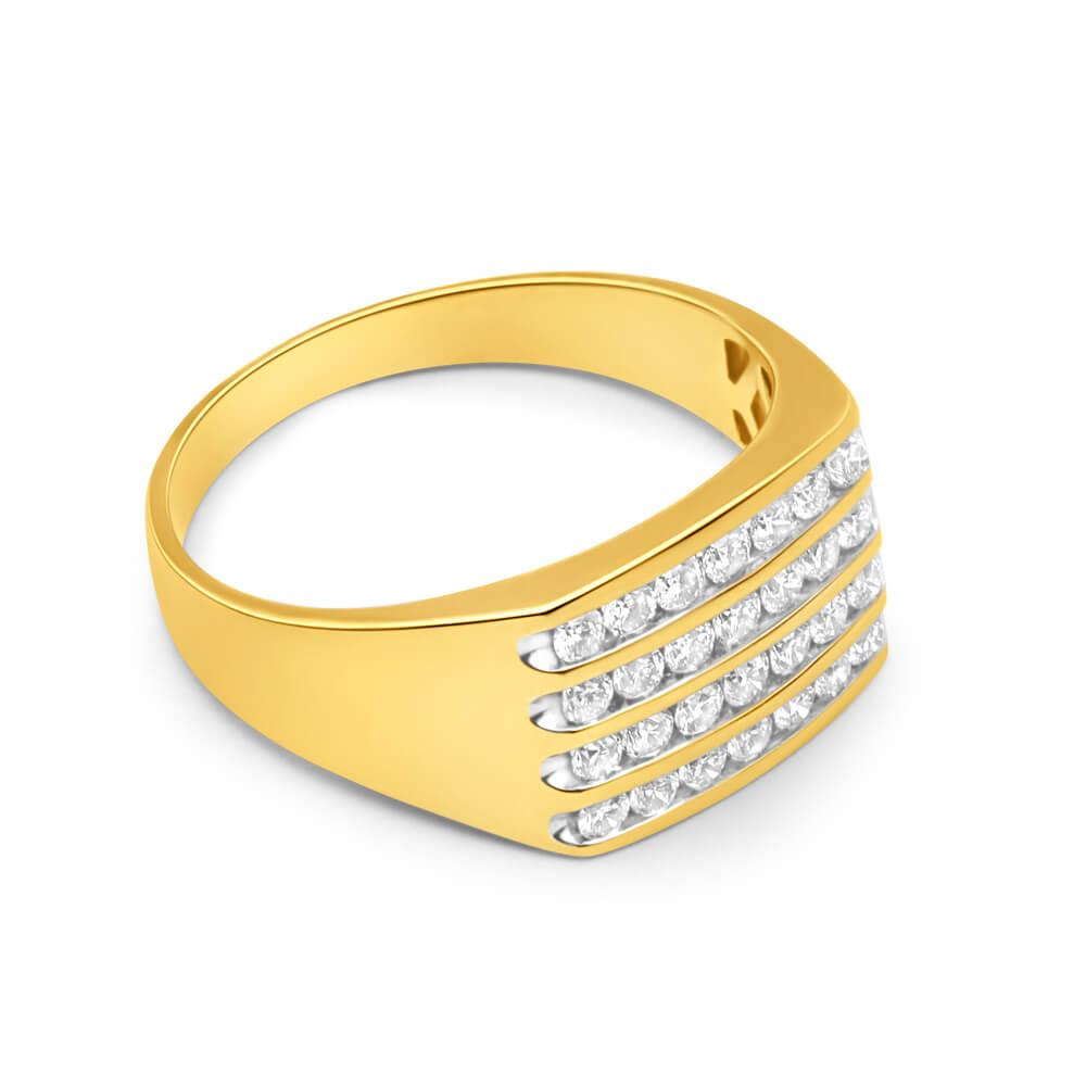 9ct Yellow Gold Diamond Ring Set With 28 Brilliant Cut Diamonds