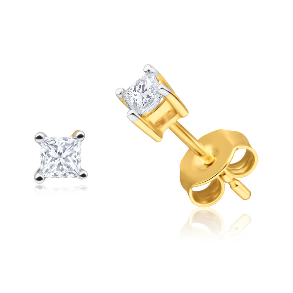 9ct Yellow Gold Sublime Diamond Stud Earrings