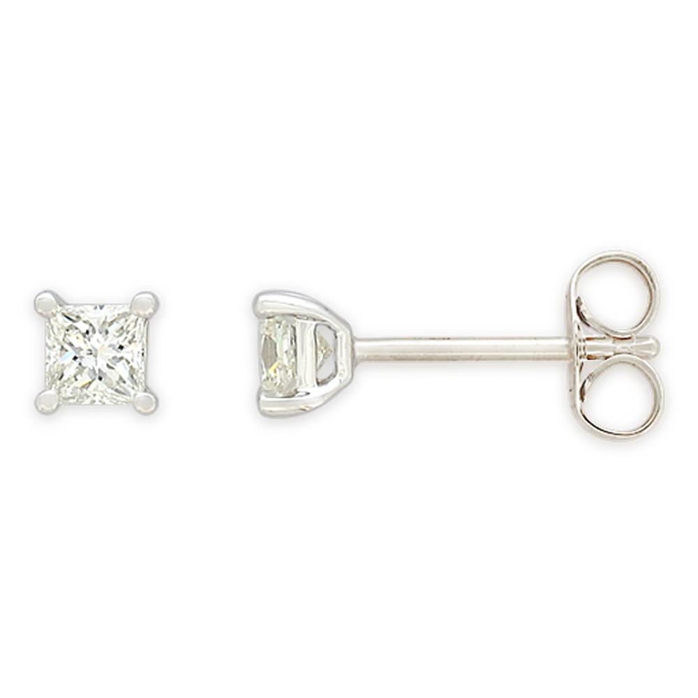 9ct White Gold Diamond Stud Earrings Set with 2 Stunning Princess Cut Diamonds