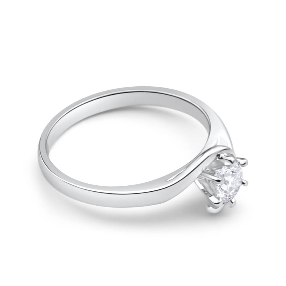 9ct White Gold Solitaire Ring With 0.3 Carat 6 Claw Set Diamond