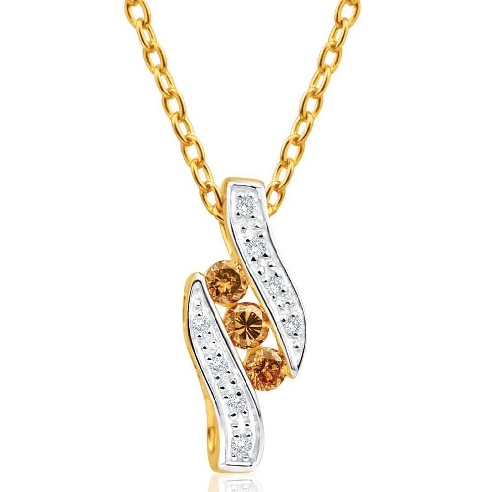 Australian Diamond 9ct Yellow Gold Diamond Pendant (TW=20pt)