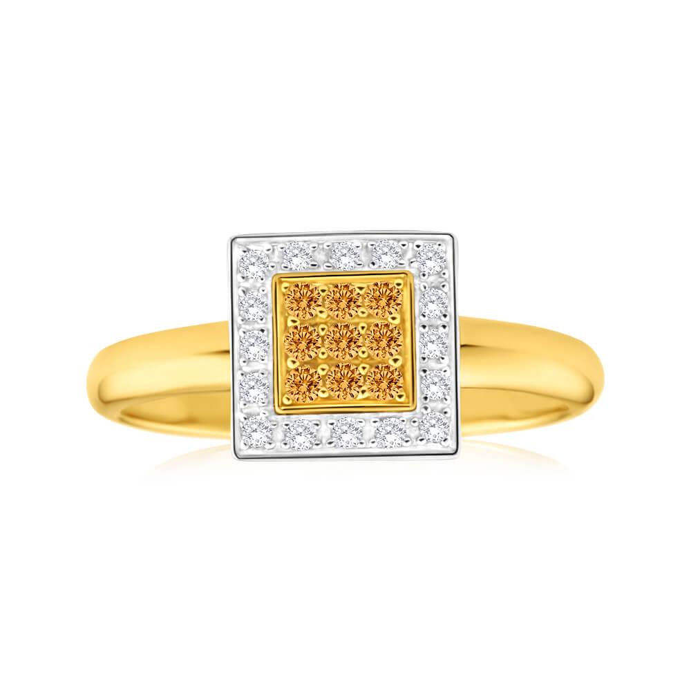 Australian Diamond 9ct Yellow Gold Diamond Bead Ring