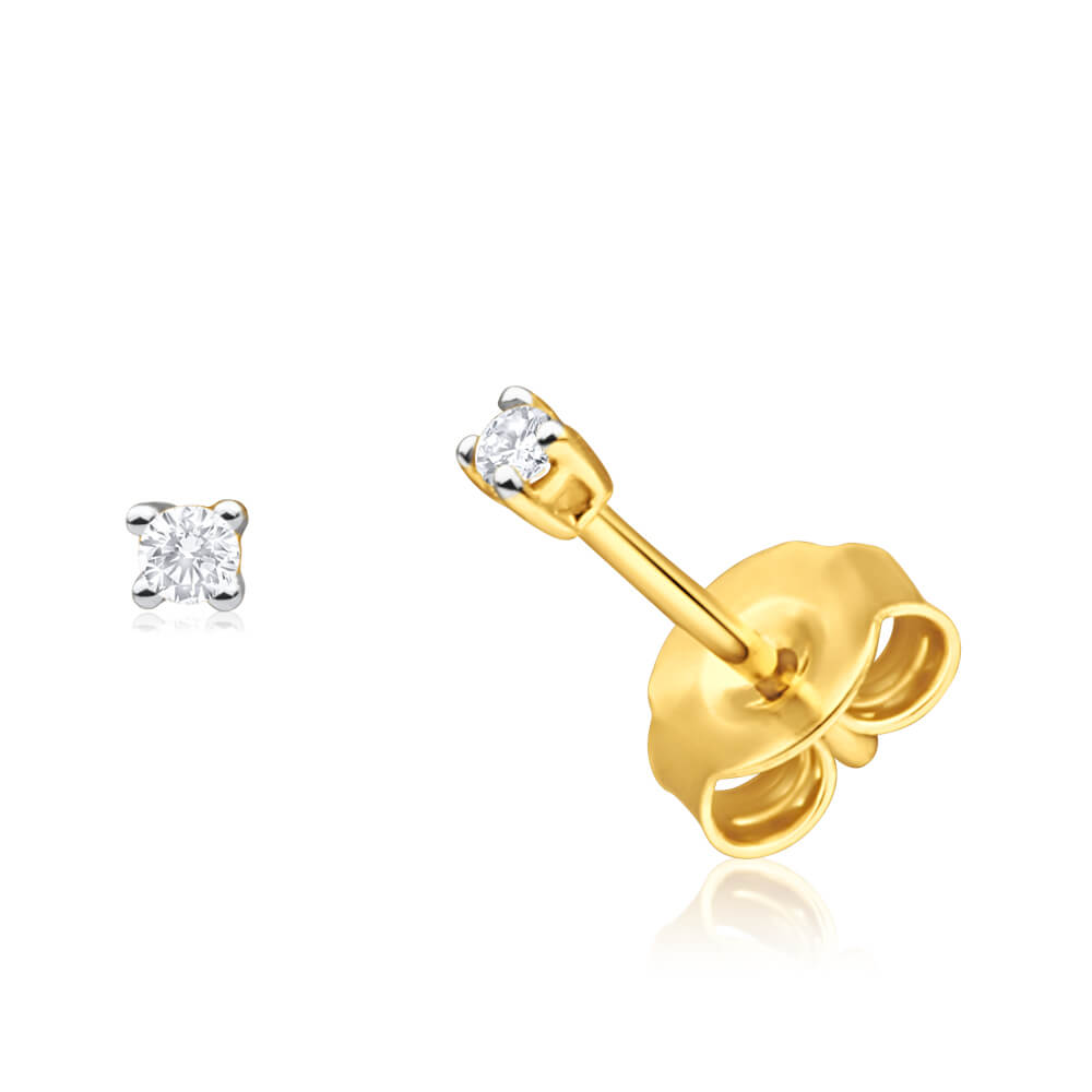 9ct Yellow Gold Gorgeous Diamond Stud Earrings