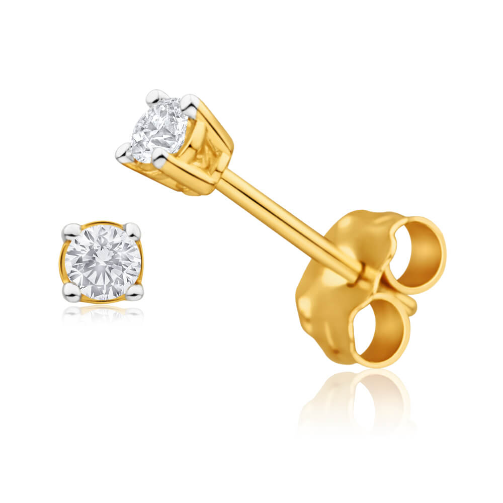 9ct Yellow Gold Enticing Diamond Stud Earrings